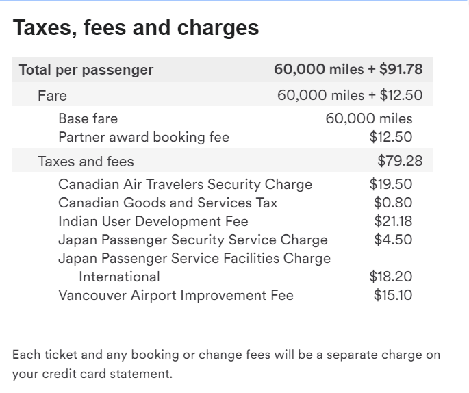 YVR-NRT-DEL on JL - Taxes and Fees