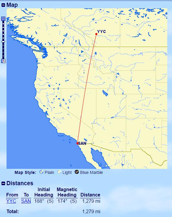YYC-SAN Distance