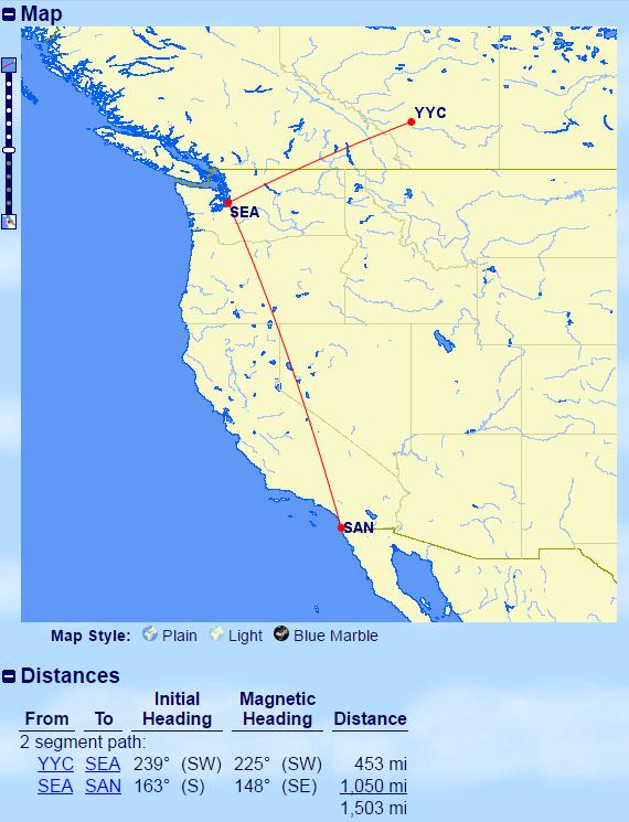 YYC-SEA-SAN Distance