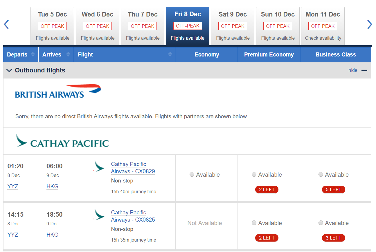 YYZ-HKG Availability CX